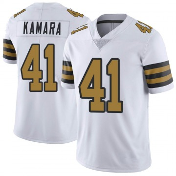 Youth Nike New Orleans Saints Alvin Kamara White Color Rush Jersey - Limited