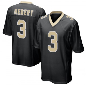 Youth Nike New Orleans Saints Bobby Hebert Black Team Color Jersey - Game