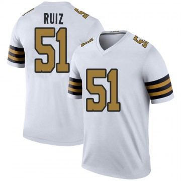 Youth Nike New Orleans Saints Cesar Ruiz White Color Rush Jersey - Legend