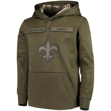 Youth Nike New Orleans Saints Green 2018 Salute to Service Pullover Performance Hoodie -