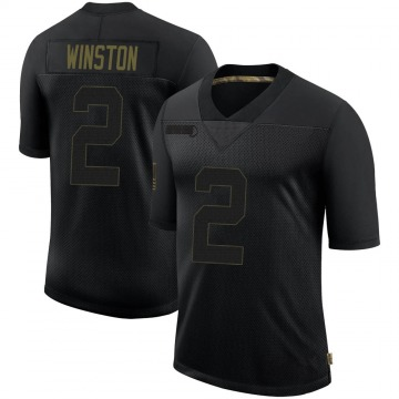 Youth Nike New Orleans Saints Jameis Winston Black 2020 Salute To Service Jersey - Limited