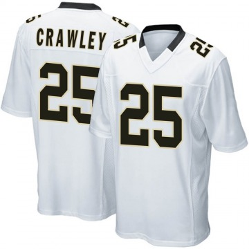 Youth Nike New Orleans Saints Ken Crawley White Jersey - Game