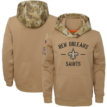 Youth Nike New Orleans Saints Khaki 2019 Salute to Service Therma Pullover Hoodie -