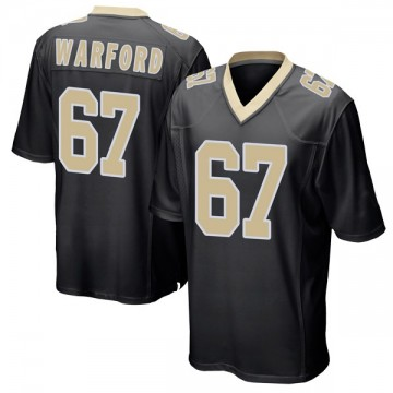 Youth Nike New Orleans Saints Larry Warford Black Team Color Jersey - Game