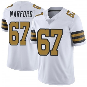 Youth Nike New Orleans Saints Larry Warford White Color Rush Jersey - Limited