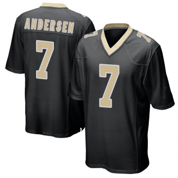 Youth Nike New Orleans Saints Morten Andersen Black Team Color Jersey - Game