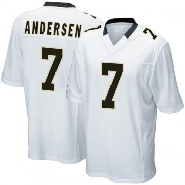 Youth Nike New Orleans Saints Morten Andersen White Jersey - Game