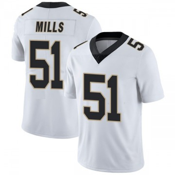 Youth Nike New Orleans Saints Sam Mills White Vapor Untouchable Jersey - Limited