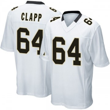 Youth Nike New Orleans Saints Will Clapp White Jersey - Game