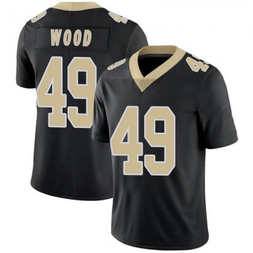 Youth Nike New Orleans Saints Zach Wood Black Team Color 100th Vapor Untouchable Jersey - Limited