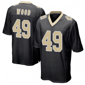 Youth Nike New Orleans Saints Zach Wood Black Team Color Jersey - Game