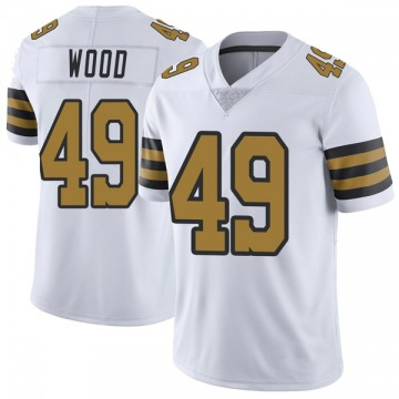 Youth Nike New Orleans Saints Zach Wood White Color Rush Jersey - Limited