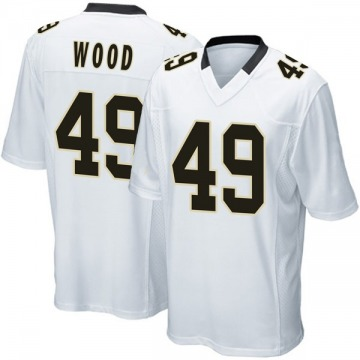 Youth Nike New Orleans Saints Zach Wood White Jersey - Game