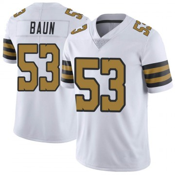 Youth New Orleans Saints Zack Baun White Color Rush Jersey - Limited